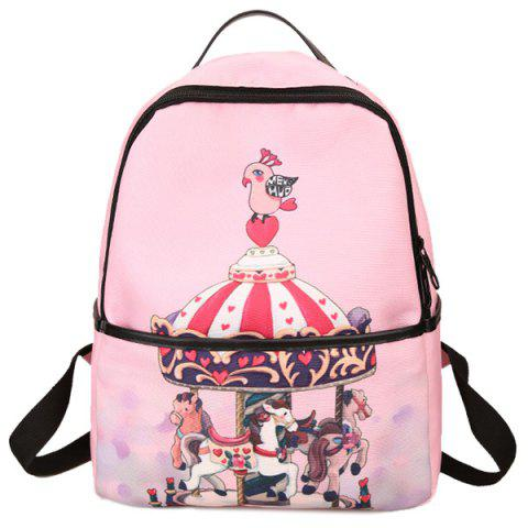 Fashion Zips Hand Printed Nylon Backpack - PINK  Mobile