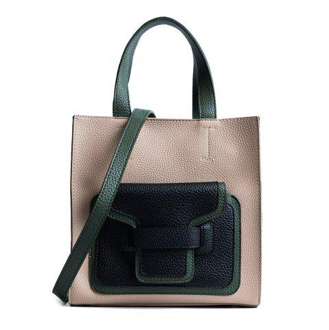Discount Color Block Faux Leather Handbag - KHAKI  Mobile