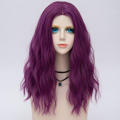 Online Medium Center Parting Fluffy Water Wave Synthetic Party Wig