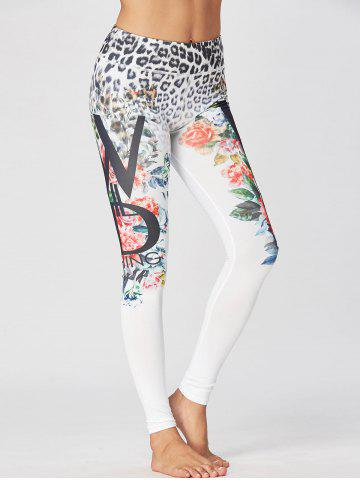 Shops Leopard Floral Print Sport Leggings - XL WHITE Mobile
