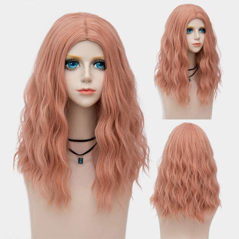 Medium Center Parting Fluffy Water Wave Synthetic Party Wig Rose Fumé