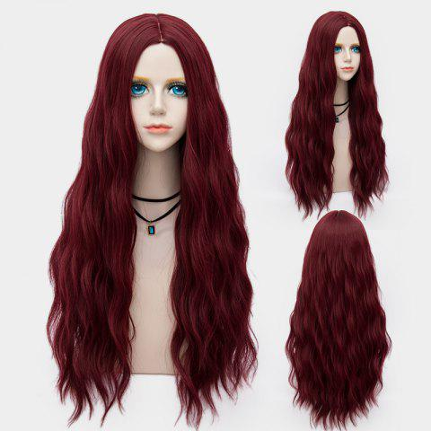 Unique Long Middle Part Fluffy Water Wave Synthetic Party Wig