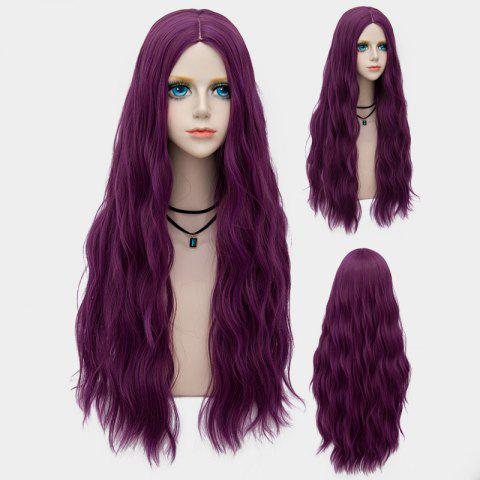 Online Long Middle Part Fluffy Water Wave Synthetic Party Wig - TARO PURPLE  Mobile
