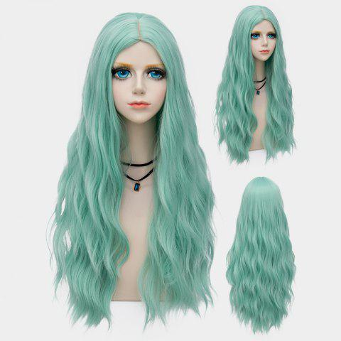 Affordable Long Middle Part Fluffy Water Wave Synthetic Party Wig MINT