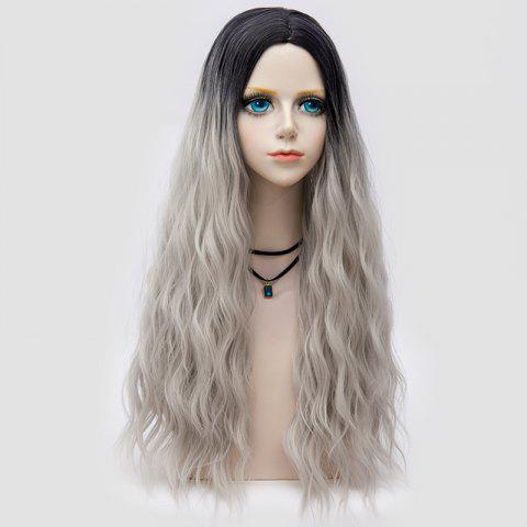Trendy Long Middle Part Fluffy Water Wave Synthetic Party Wig - FROST  Mobile