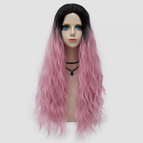 Online Long Middle Part Fluffy Water Wave Synthetic Party Wig LIGHT PINK