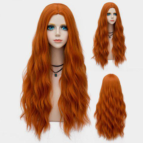 New Long Middle Part Fluffy Water Wave Synthetic Party Wig PEARL KUMQUAT