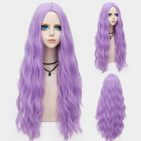 Affordable Long Middle Part Fluffy Water Wave Synthetic Party Wig SUEDE ROSE