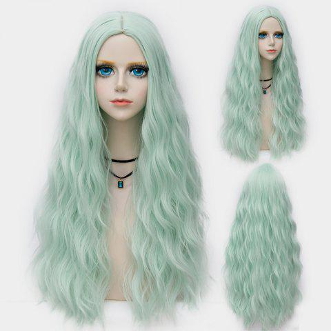 Shops Long Middle Part Fluffy Water Wave Synthetic Party Wig - NEON GREEN  Mobile