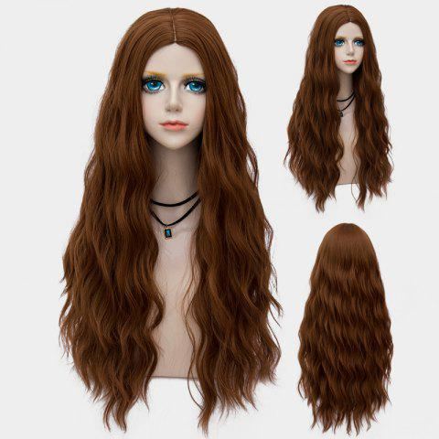 Best Long Middle Part Fluffy Water Wave Synthetic Party Wig
