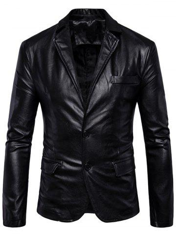 Hot Single Breasted Lapel Collar Faux Leather Blazer - 5XL BLACK Mobile