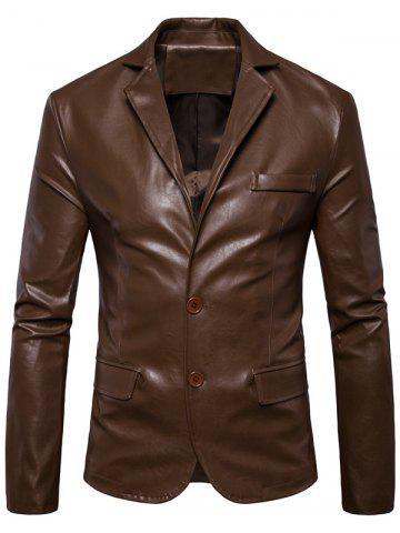 Store Single Breasted Lapel Collar Faux Leather Blazer - 5XL BROWN Mobile