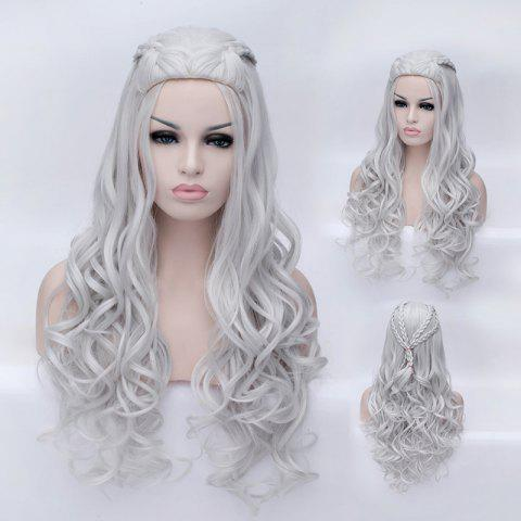 Longue traînée ondulée Synthetic Game of Thrones Daenerys Targaryen Cosplay Wig Blanc Argent