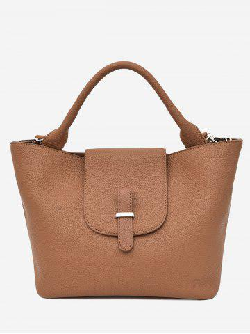 Trendy Faux Leather Top Handle Handbag BROWN
