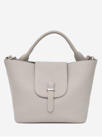 Shop Faux Leather Top Handle Handbag - GRAY  Mobile