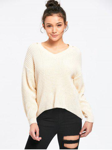 Cutout V Neck High Low Hem Sweater