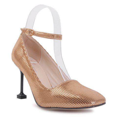 Cheap Square Toe Ankle Strap Stiletto Heel Pumps - 39 GOLDEN Mobile