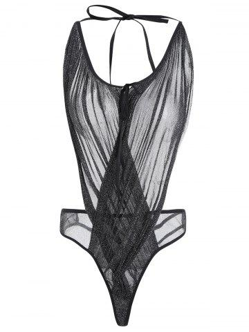 Low Cut Mesh Sheer Teddy