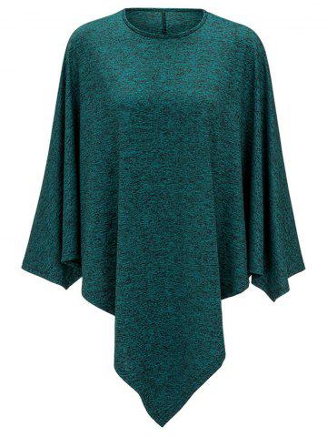 Outfits Heathered Round Neck Asymmetrical Top GREEN M
