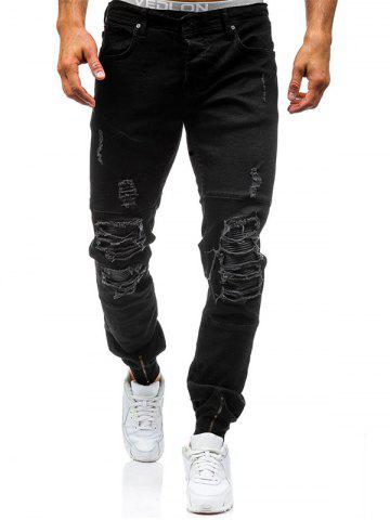 Zipper Cuff PU Insertion Dirty Danger Jeans Noir 32