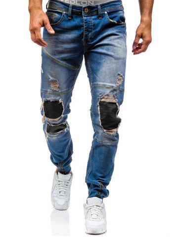 Fancy Zipper Cuff PU Insert Distressed Biker Jeans BLUE 32