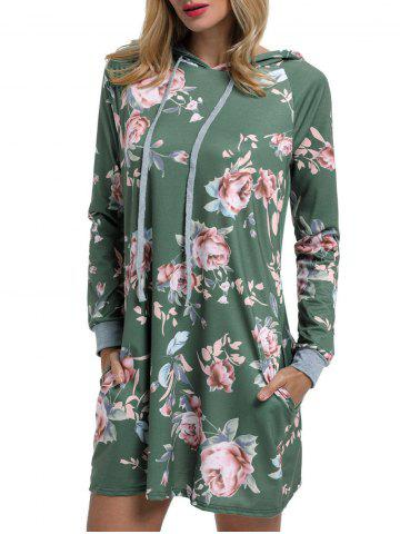 Drawstring Floral Printed Hoodie Dress