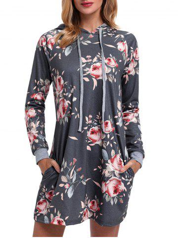Drawstring Floral Printed Hoodie Dress Gris XL