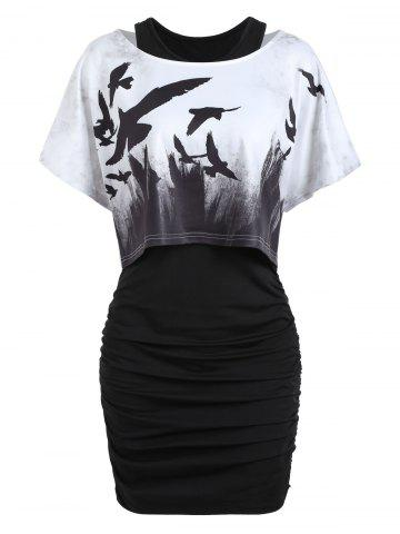 Hot Tank Ruched Dress with Halloween Crow Top BLACK 2XL