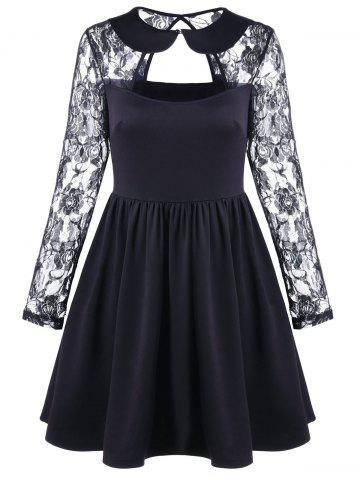 Fancy Vintage Cut Out Lace Sleeve Cocktail A Line Skater Dress