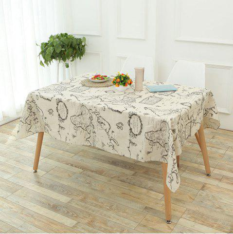 Chic Vintage World Map Pattern Table Cloth GRAY W55 INCH * L71 INCH