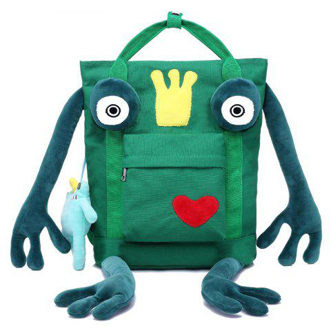 Unique Embroidery Pendant Funny Frog Backpack - GREEN  Mobile