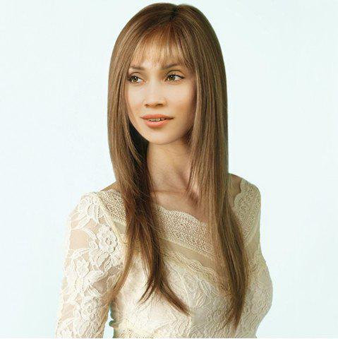 Affordable Long See-Through Bang Side Parting Layered Straight Synthetic Wig - 24INCH LIGHT BROWN Mobile