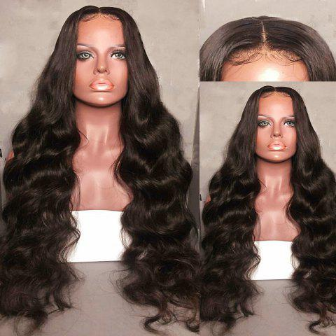 Unique Long Center Parting Fluffy Body Wave Synthetic Lace Front Wig - DEEP BROWN  Mobile
