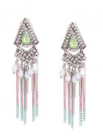 Rhinestone Resin Fringed Chain Teardrop Earrings