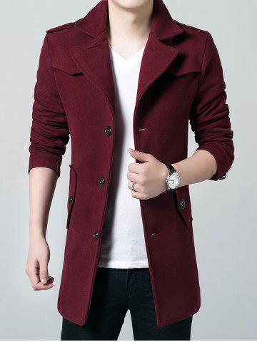 Chic Epaulet Single Breasted Lapel Wool Blend Coat WINE RED 3XL