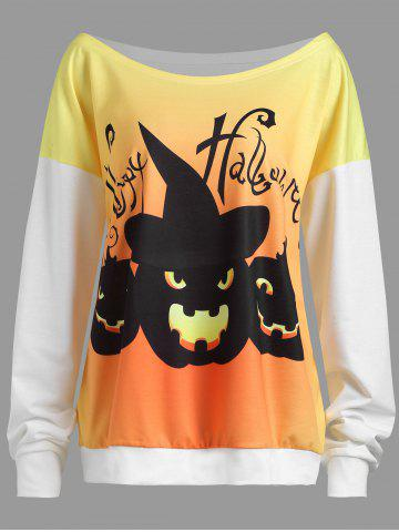 New Plus Size Drop Shoulder Happy Halloween Pumpkin Sweatshirt