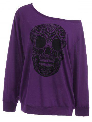 New Plus Size Skull Skew Collar Sweatshirt PURPLE 5XL