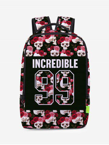 Store Skull Canvas Flower Backpack