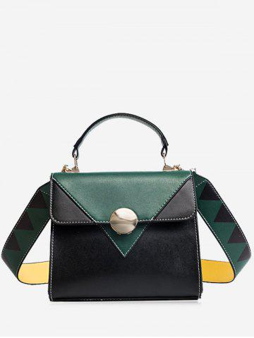 Best Faux Leather Color Blocking Geometric Crossbody Bag GREEN