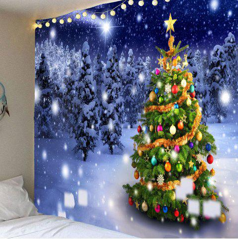 Discount Christmas Tree Night Snow Forest Printed Wall Tapestry