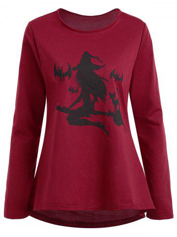 Affordable Plus Size High Low Halloween Witch Print Tee - 3XL WINE RED Mobile