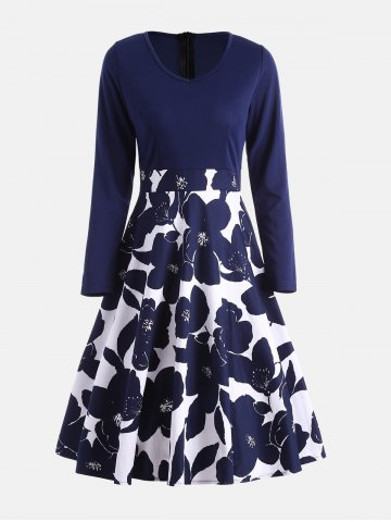 Best High Waist Flower Print Long Sleeve Dress PURPLISH BLUE M