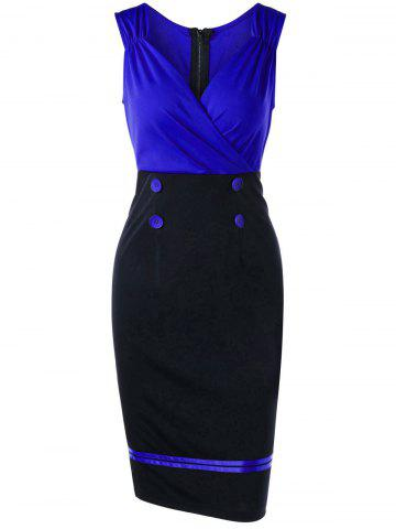 Online Sleeveless Double Breasted Vintage Sheath Pencil Dress - 2XL BLUE Mobile