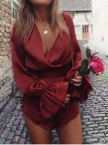 Outfit Flare Sleeve Satin Surplice Romper - L DEEP RED Mobile