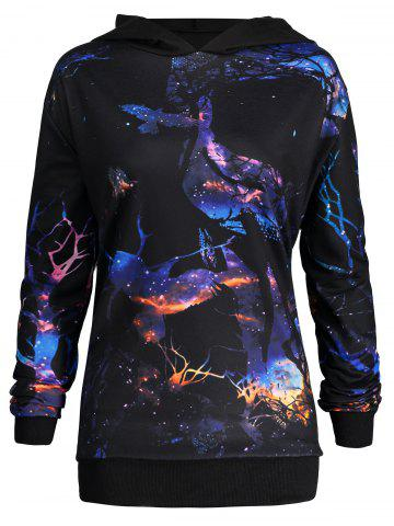Affordable Halloween Plus Size 3D Crow Print Hoodie - XL BLACK Mobile
