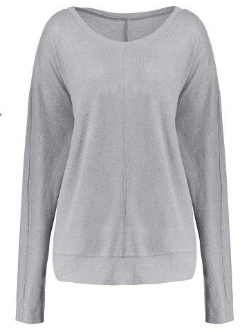 Plus Size Crew Neck Long Sleeve Top Gris 5XL