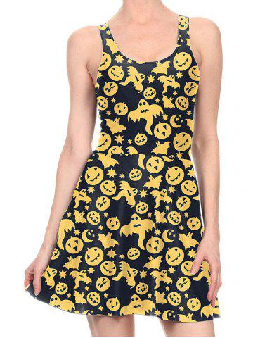 Discount Flare Pumpkin Halloween Tank Skater Dress - S YELLOW Mobile
