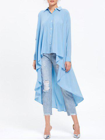 Latest Longline High Low Hem Flowy Blouse LIGHT BLUE M