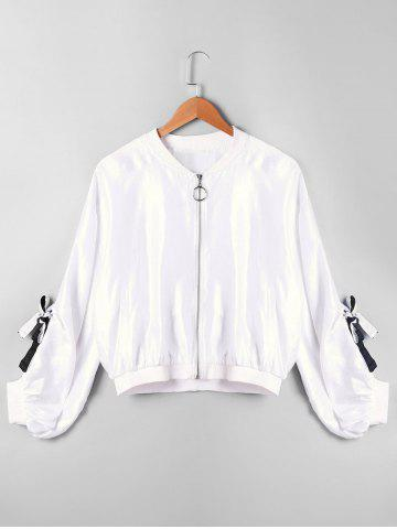 Affordable Tie Sleeve Zipper Up Jacket WHITE M