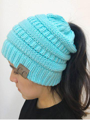 Discount Open Top Mixcolour Knitted Hat LIGHT BLUE